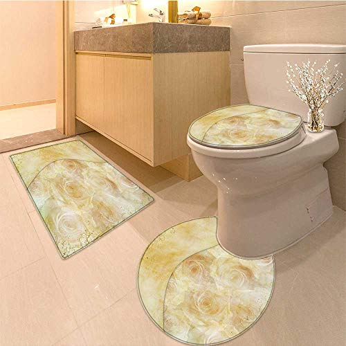 Miki Da Lid Toilet Cover Greeting golden card with beautiful roses Personalized (60x80 Da Mat)