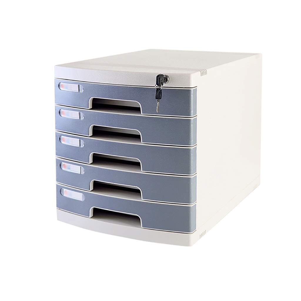 Flat File Cabinet, Drawer Organizer Medium 5-Layers Lockable with Blank Label Environmentally Friendly Plastic (29.539.432.5cm) (Color : C1)