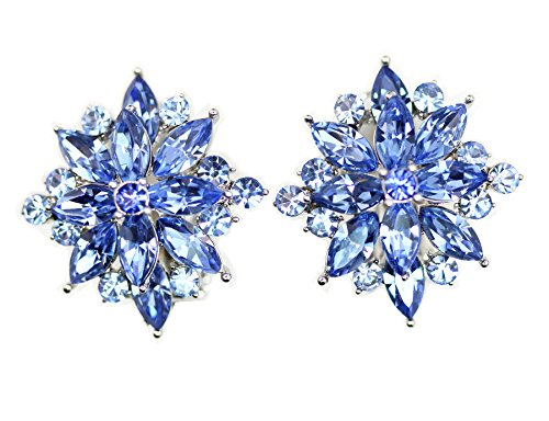 (Faship Blue Crystal Clip On Earrings)