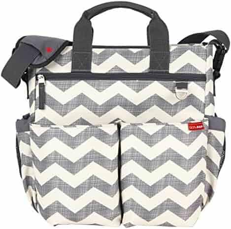 Skip Hop Baby Duo Signature Diaper Bag, Chevron, Grey/White