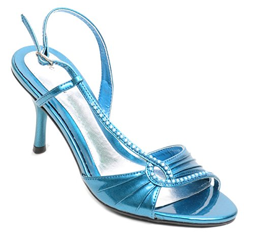 Teal Jeweled Open Toe Low Heel Junior Tween Sandals Size 5 Zxdnl
