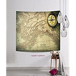 sophiehome Tapestries321270047 Antique brass compass over old XIX century map hanging magical thinking tapestry 11.8W x 11.8L Inches