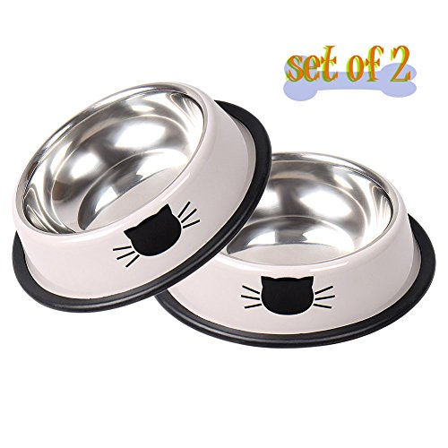 Vonsely Stainless Steel Cat Bowls with Rubber Base, Durable Raised Bowls for Small Pets, Cat Pattern Food and Water Dish (Grey)