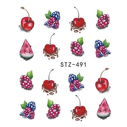 Summer Harajuku Element Fruit Retro Cake Lace Water Transfer Nail Art Sticker Decal Slider Manicure Tool Tips JISTZ489-500 STZ491