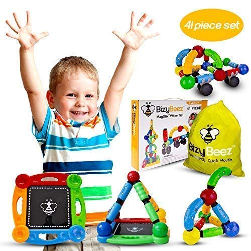 BizyBeez MagStix Sensory Magnetic STEM Toys - Building Set for Kids - 41 pcs - Educational Creative and Imaginative Fun for Boys Girls Age 3+ - Hours of Independent Play - Aids Kids with Autism Too