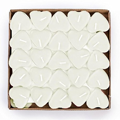 Tiean 50PCS Heart Shaped Scented Candles, Romantic Love Candle Bulk for Wedding, Birthday, Party, Halloween, Christmas, Festival (White)