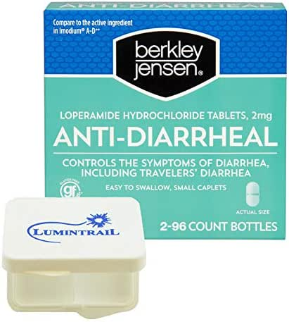 Berkley Jensen Anti-Diarrheal Medicine Loperamide Hydrochloride Tablets 2 mg - 192 Count Bundle with a Lumintrail Pill Case