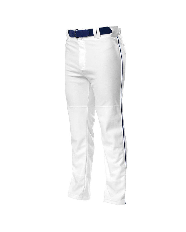 A4 野球用 バギーパンツ メンズ プロ仕様 パイピング入り B003M0K9EW L|White|Navy White|Navy L