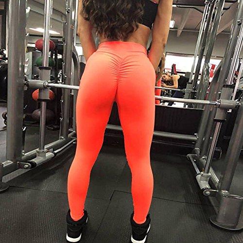 Arancione da Esercizio Fitness Leggings Sport Pantaloni Donna donna corsa ginnastica Fitness da Yoga sportivi Fitness Stretch da Tuta Pants Stretto tYxH0xqw1