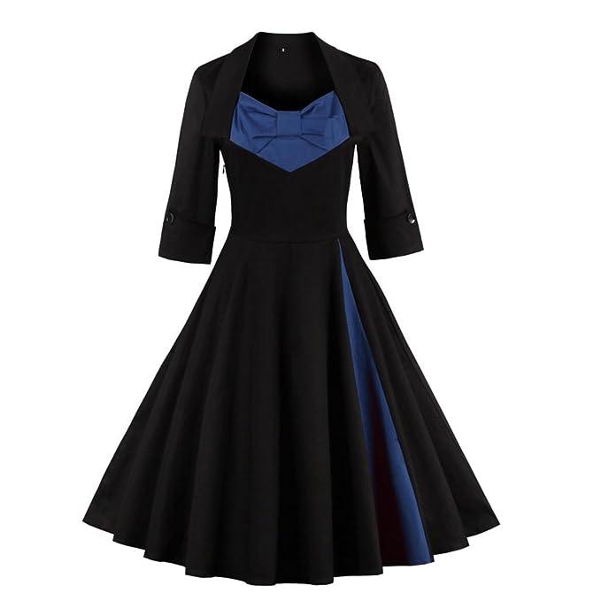 Vintage vestido de Navidad para las mujeres elegantes vestidos patchwork otoño casual Swing Fiesta Nocturna Plus