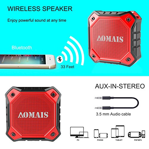 AOMAIS Ultra Portable Wireless Bluetooth Speakers 8W Loud Sound, Waterproof IPX7 Shower Speaker,Stereo Pairing Home Party, Outdoor, Beach, Travel (Red) by AOMAIS (Image #4)