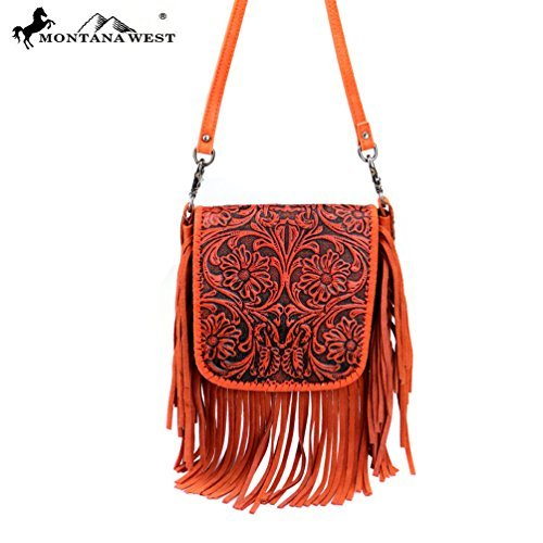 RLC-L085 Montana West 100% Real Leather Tooled Crossbody-Coral -