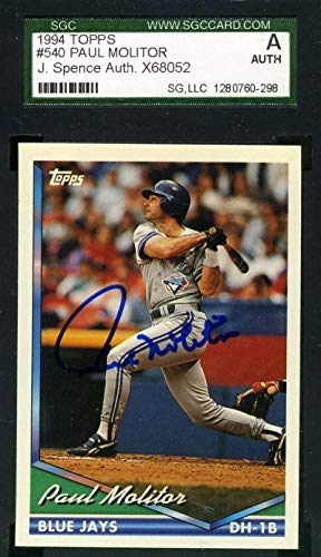 Autograph Paul Molitor (PAUL MOLITOR Coa Autograph 1994 Topps Authentic Hand Signed - JSA Certified - Baseball Slabbed Autographed Cards)