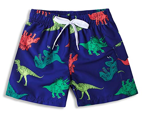BFUSTYLE Kid Boys Daily Navy Blue Green Yellow Orange Retro Dinosaur Dino Print Summer Quick Dry Lightweight Surf Swim Trunks Beach Sunbathing Shorts Apparel with Mesh Lining 7t ()