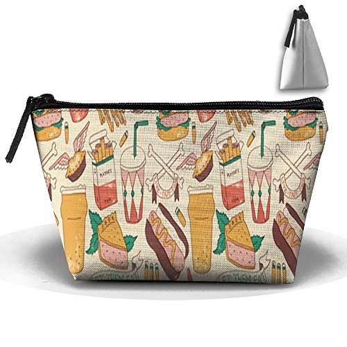 (Drinking And Hot Dog Convenient Trapezoid Makeup Storage Bag For Toiletry And Skincare)