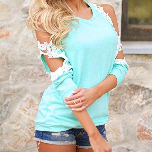 Femme Blouse Femme Longues Pull Shirt Femme Cher Casual Epaule Chic Fille Manches Pas Dentelle Chemisier Femmes Bleu Blouse hors Chemise Soiree Oyedens Tops Vetement Femme Femme TxXHfq