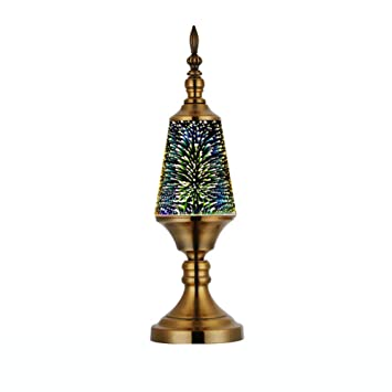WETRR Lámpara de Mesa 3D Fireworks, lámpara de Cristal ...