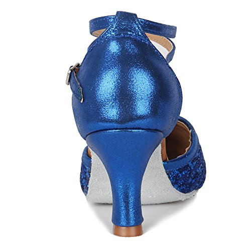 Samba Modern Ballroom Dance MF1802 Model Blue Women Leather Chacha HROYL Latin 7cm Shoes Shoes 6 Dance Glett OEnIqxzwx
