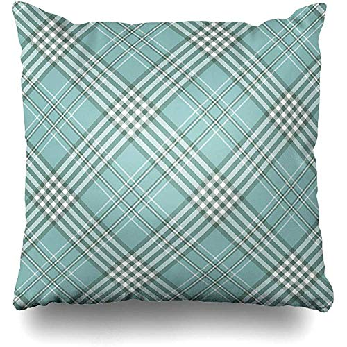 Throw Pillow Cover Cushion Case Pastel Blue Border Tartan Plaid Pattern Checkered Picnic Aquamarine Green British Check Checker Home Decor Design Square 18 x 18 Inch Zippered