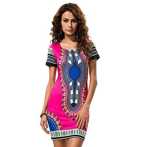 - KUREAS Women's African Print Dashiki Dress Short Sleeves Vintage Stretchy Casual Shift Dress Rose Red