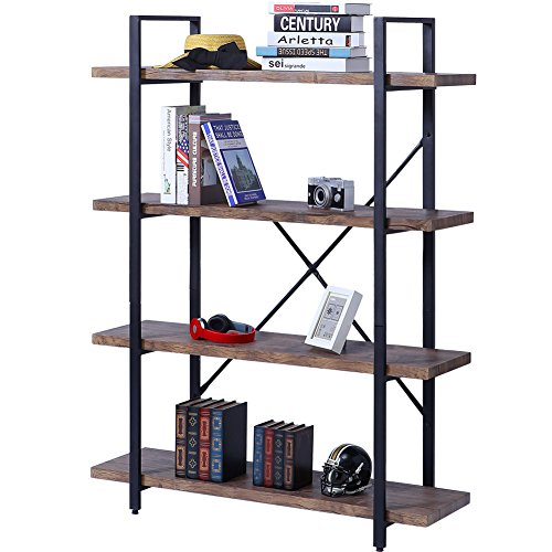 SUPERJARE 4-Shelf Industrial Bookshelf, Vintage Etagere Bookcase, Rustic Book Shelf, Free Standing Storage Display Shelves, Retro (Small Deco House)