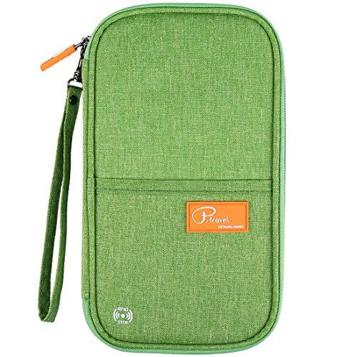 VanFn RFID Travel Passport Wallet, Family Passport Holder, Trip Document Organizer P.Travel Series (Green) (Wallet Travel Green)