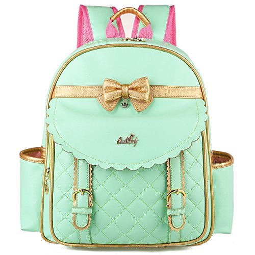Waterproof Cute Backpacks for Preschool Toddler Girls Sweet Kids Large School Bookbag Travel Daypack (L:11.8 x 5.9 x 16.1 in, Green BP L) -