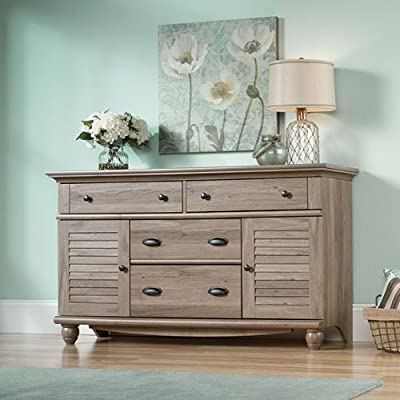 Sauder Harbor View Dresser, Salt Oak finish - Four drawers with metal runners and safety stops feature patented t-lock assembly system to save you time Additional storage behind louver detailed doors for Blankets, sweaters, etc. Detailing includes solid wood, turned feet for an extra touch of class - dressers-bedroom-furniture, bedroom-furniture, bedroom - 51Xer9QqKiL. SS400  -