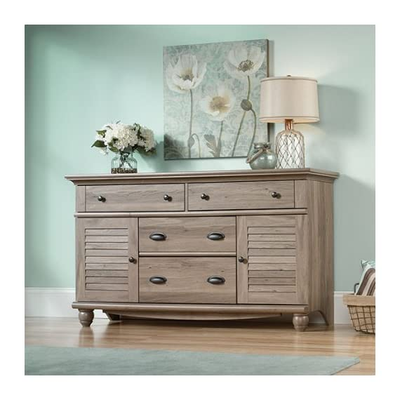 Sauder Harbor View Dresser, Salt Oak finish - Four drawers with metal runners and safety stops feature patented t-lock assembly system to save you time Additional storage behind louver detailed doors for Blankets, sweaters, etc. Detailing includes solid wood, turned feet for an extra touch of class - dressers-bedroom-furniture, bedroom-furniture, bedroom - 51Xer9QqKiL. SS570  -