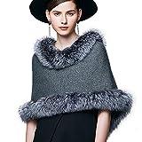 Womens Winter Real Silver Fox Fur Shawl Cashmere Wrap Stole Shrug Women Fur Coat