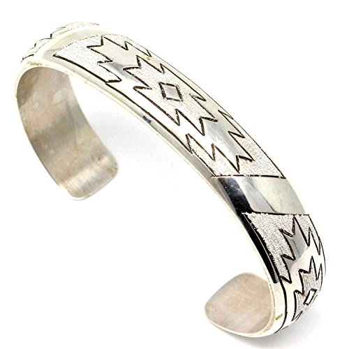 Navajo Diamond Pattern Sterling Silver Bracelet by L7 Enterprises