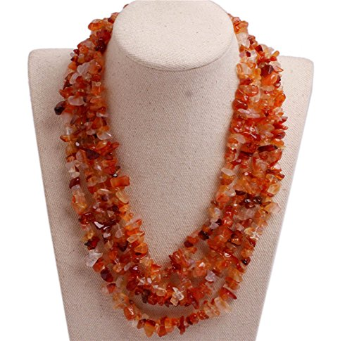 GEM-inside Gemstone Necklace Red Agate Chips Charm Fashion Bohemia Statement Hyperbole Bib Stand String Beaded Necklace Crystal Unisex 18-21 Inches