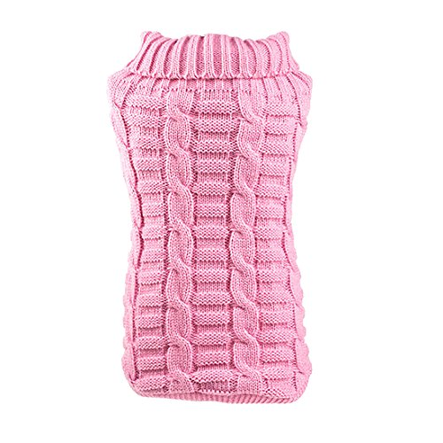 uxcell Elastic Soft Dog Sweater Cable Knit Pet Clothes,Pink,XS