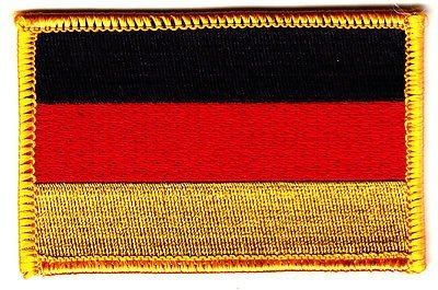 GERMAN FLAG w/GOLD BORDER/Iron On Applique Patch, Flag of Ge