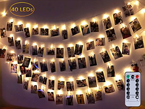 Dadiii 40 LED Photo Clip String Lights Christmas Lights for Hanging Photos, Pictures, Cards, Ideal Gift for Wedding, Party, Christmas Decoration ( Battery + Remote control)