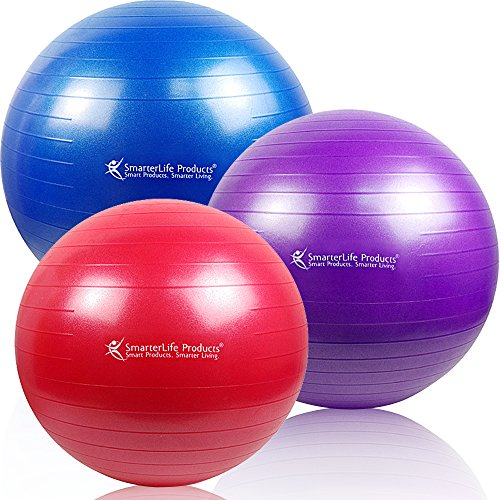 ON SALE! -- Exercise Ball - Premium Fitness Ball for Exercise, Weight Loss, Core Strength - Best Stability Ball for Full Body Workout, CrossFit, Yoga, Pilates - SmarterLife Products (Purple, 65 cm)