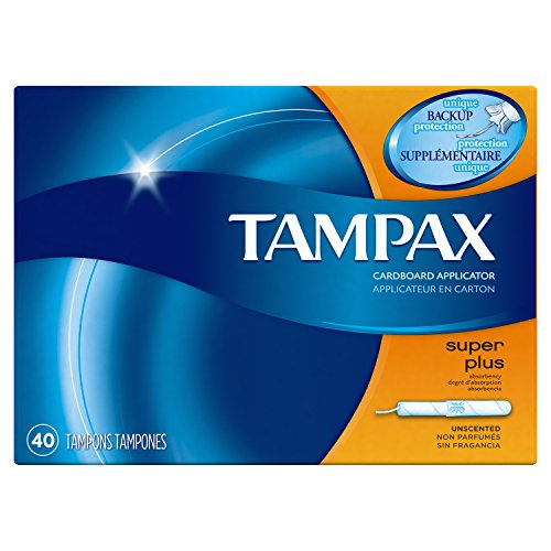 Tampax Cardboard Applicator Tampons, Super Plus Absorbency, Unscented, 40 Count