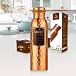 Unify Hammered Copper Bottles for Water 1 Liter, Leak Proof 100% Pure Copper Water Bottles 1 Litre – 1000ml