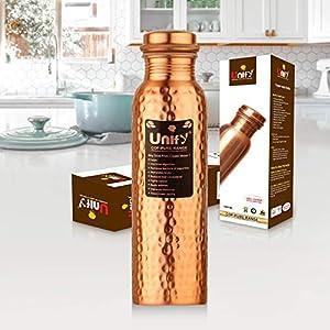 Unify Hammered Copper Bottles for Water 1 Liter, Leak Proof 100% Pure Copper Water Bottles 1 Litre - 1000ml