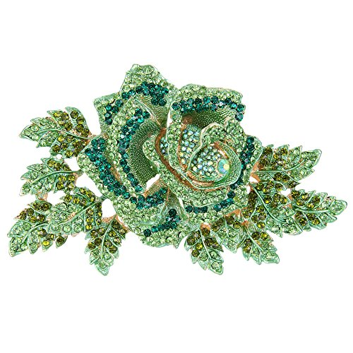 (EVER FAITH Women's Austrian Crystal Gorgeous Party Prom 6 Inch Rose Flower Leaf Brooch Green Gold-Tone)
