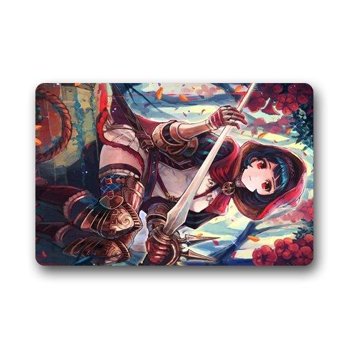 Anime Red cloth girl Custom Doormat (23.6x15.7 inch) Indoor Outdoor