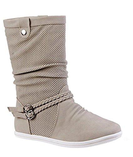 Damen Stiefeletten Stiefel Warm Gefüttert Boots Flache Schlupfstiefel Schuhe 3777 Beige