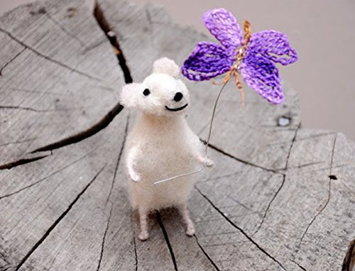 Needle Felted Art Doll Felt White Mouse 3in. height . Cute mouse with butterfly! - Needle Felted Mouse