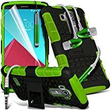 ONX3® ( Green ) LG G4 Case Custom Made Tough Survivor Hard Rugged Shock Proof Heavy Duty Case W/ Back Stand, LCD Screen Protector Guard, Polishing Cloth, Aluminium In Ear Earbud Stereo Hands Free Earphone & Mini Retractable Stylus Pen