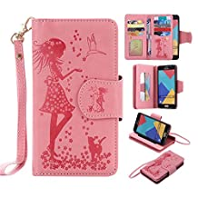 Galaxy A5 2016 Wallet Case,XYX [9 Card Slot Series] Wallet Folio PU Leather Case Cover With Makeup Mirror and Wrist Strap Case for Samsung Galaxy A5 2016 [Pink]