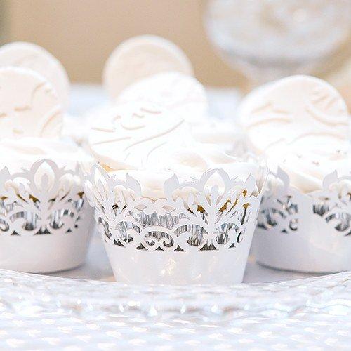 Weddingstar Inc. White Classic Damask Filigree Paper Laser Cupcake -