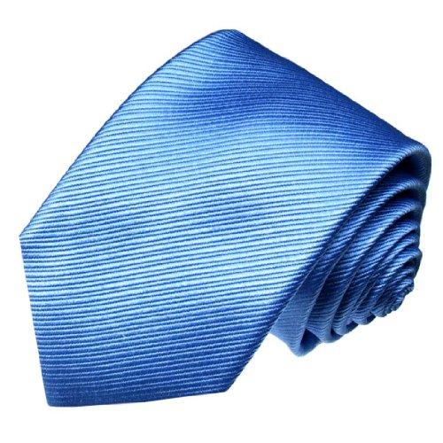 (LORENZO CANA - Italian 100% Silk Tie Blue Skyblue Mediumblue Solid Necktie -)