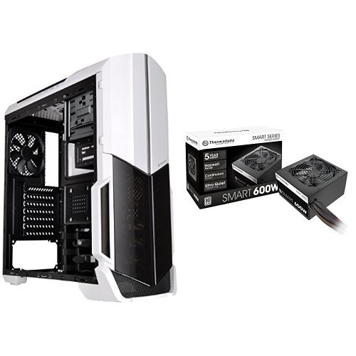 Thermaltake VERSA N21 Monochrome Mid Tower Gaming Computer Case with SMART 80 Plus 600 Watt ATX/EPS Power Supply Bundle - White by Thermaltake