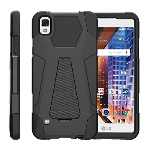 TurtleArmor | Compatible with LG Tribute HD Case | LG Volt 3 | LG X Style [Dynamic Shell] Hybrid Dual Layer Hard Shell Kickstand Silicone Case - Black (Lg Volt 4g Lte Case)