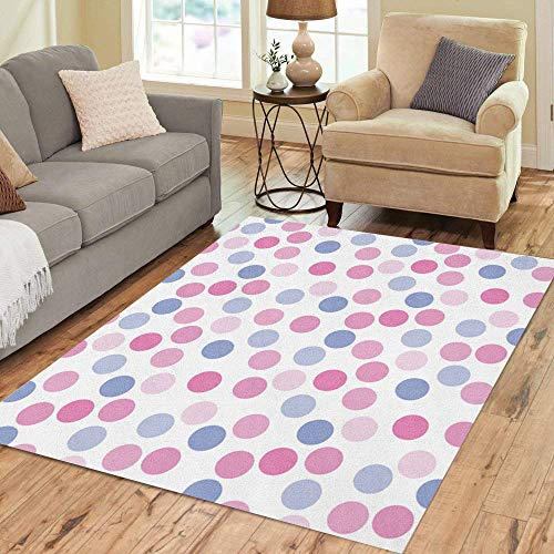 Pinbeam Area Rug Fun Polka Dots in Pink and Lavender Blue Home Decor Floor Rug 3' x 5' Carpet ()